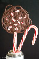 Lace Lolli Pop with Candy Cane (Veganer Schokolutscher mit Pfefferminz)