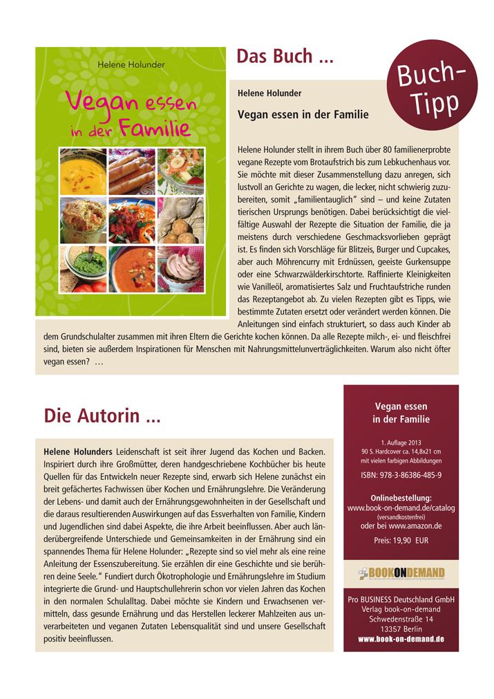 Buchtipp: Vegan essen in der Familie von Helene Holunder